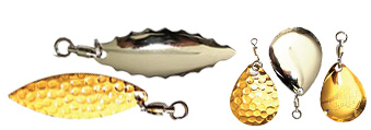 Gold and Nickel blades for Fishing Lures