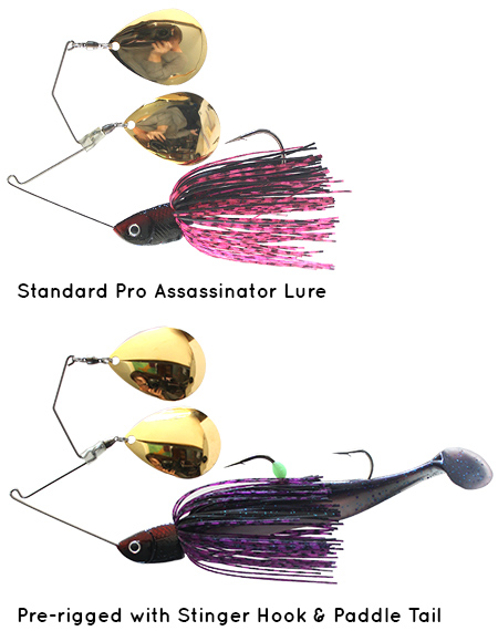 Pro Assassinator Lure with Stinger Hook and Paddle Tail